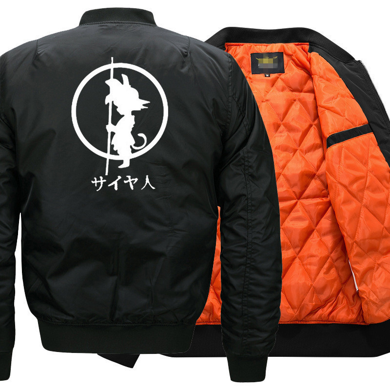 USA SIZE Anime Dragon Ball Goku Bomber Jacket Flying Jacket Winter thicken Warm Zipper Men Jackets Unisex Coat