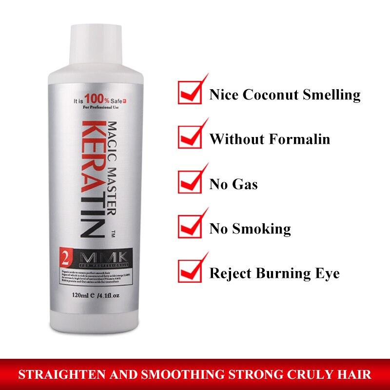 Купить с кэшбэком Coconut Oil Smelling Without Formalin 120ml Magic Master Keratin +10ml Argan Oil Repair damaged hair & straighten hair