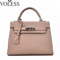 VOLESS Cross Lines Lock Leather Women Handbags Large Capacity Women Messenger Bags Famous Brand European Style Women Bags Sac