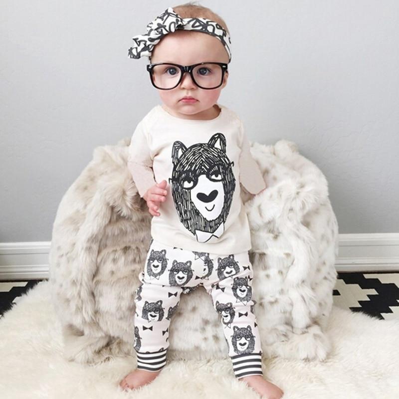 Baby Clothes Sets Fashion Newborn Boy Girl Clothing Set Cotton Long Sleeve Print Tops+Pants Baby Boy Clothes Children Clothing