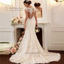 Elegant Mermaid Wedding Dresses Lace Vestido de Casamento Korean Boho Wedding Gowns China Bride Dress Custom Made 2017 Renda