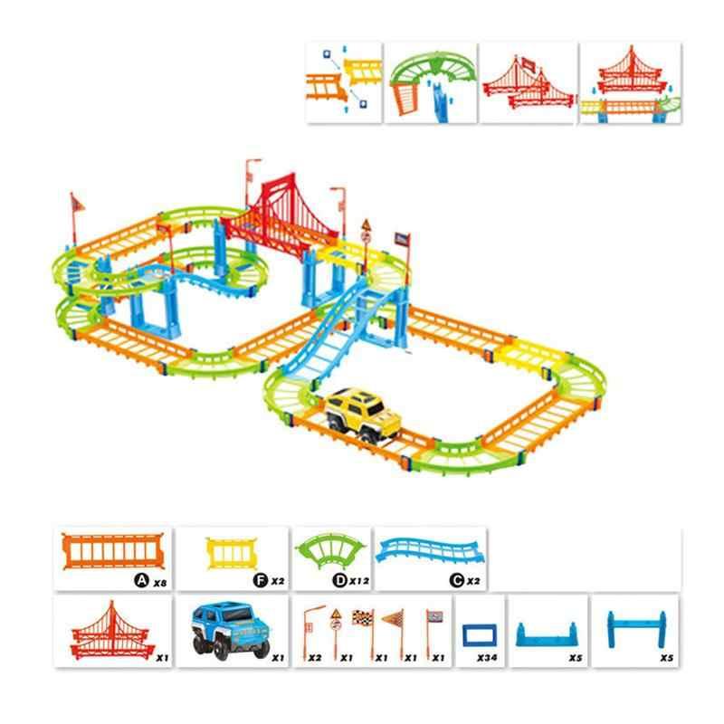السكك الحديدية الكهربائية مجموعة سيارة ألعاب تعليمية للأطفال لتقوم بها بنفسك التجمع لعبة سباق المسار والقطارات الكهربائية RC للأطفال
