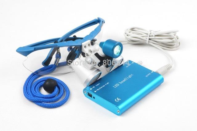 AZUL Dental Médico Cirúrgica Lupas Dentais Vidros 3.5X420mm + LED Head Light Lamp Dental Laboratório Além do Preto Estojo protetor