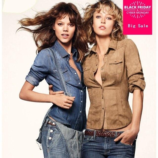 corte Tops mujer vaquera Mujer otoño Camisa Jeans blusa Slim 2015 primavera camisa larga de manga qw8En6Hx