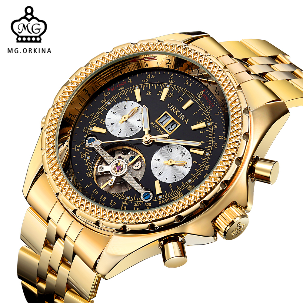MG ORKINA Golden Mens Automatic Mechanical Wrist Watch Black Dial Glass Day Date Month Relojes Male