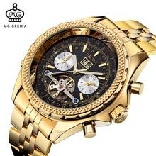 MG. ORKINA Or Mens Automatique Montre-Bracelet Mécanique Cadran Noir Verre Jour Date Mois Relojes Mâle