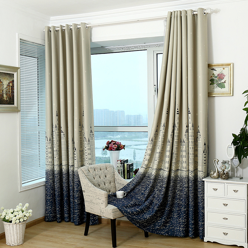 Mediterranean bedroom window curtains balcony castle city - Blackout curtains for master bedroom ...