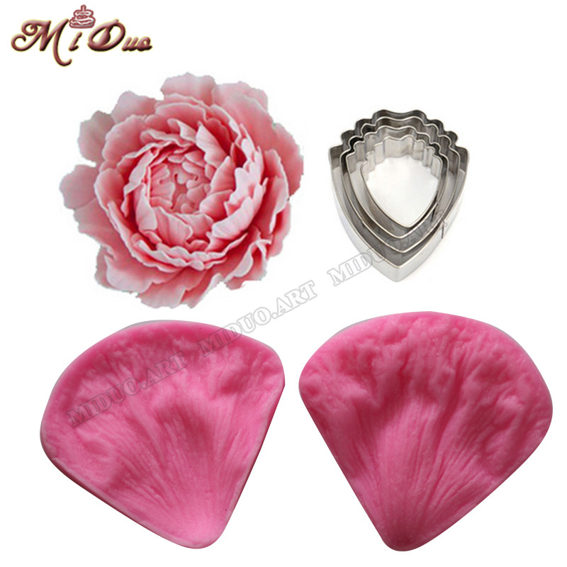 Peony Fondant Sugarcraft უჟანგავი ფოლადის საჭრელი Peony Petal Silicone Veiner & Cutter Flower Cutter Cake Decorating Mould