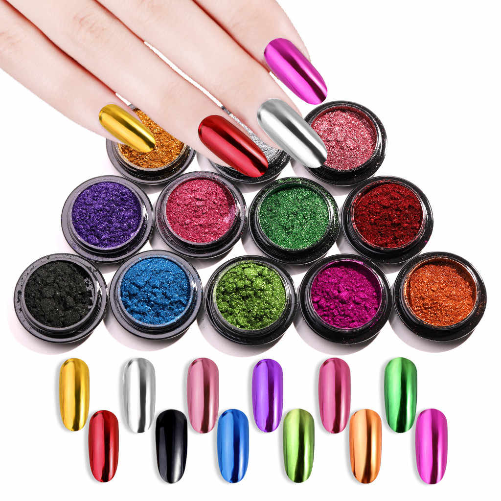 0.5g Nail Mirror Glitter Powder Metallic Color Nail Art UV Gel Polishing Chrome Flakes Pigment Dust Decorations Manicure #a