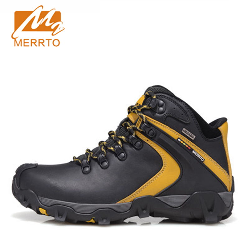 2017 Merrto Mens Hiking Boots Breathable Waterproof Outdoor Climbing Sports Shoes Full-grain leather For Men Free Shipping 18298 yin qi shi man winter outdoor shoes hiking camping trip high top hiking boots cow leather durable female plush warm outdoor boot