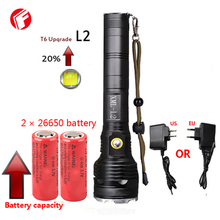 LED flashlight CREE XM-L2 super t6 Shock Resistant Self Defense 26650 battery LED rechargeable