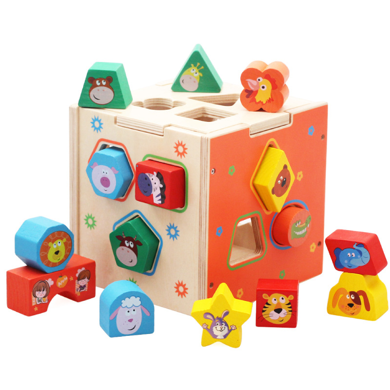 Children learn toy wooden multicolor geometry cognitive box shape matching product early childhood education montessori wooden building block baby gift geometry cognitive matching toy fun block board game toy wooden educational toy for children
