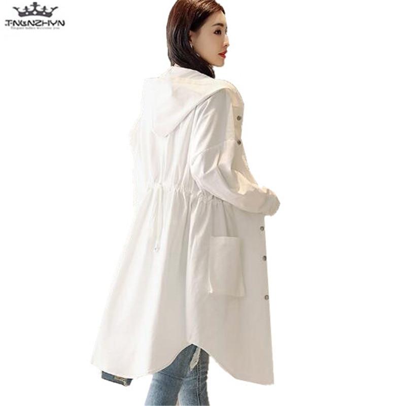 tnlnzhyn 2018 New Spring Summer Women Trench Coat female Casual Long Sleeve Windbreaker Coat Loose long Hooded Outerwear Y1094