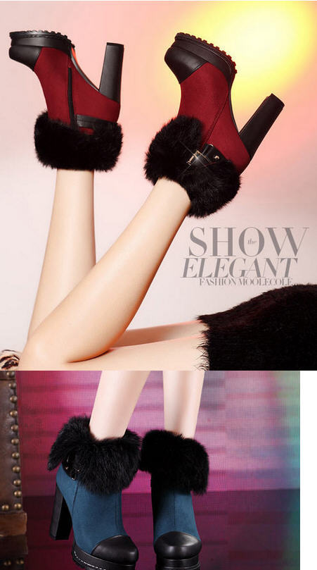 ФОТО New Winter Fashion Genuine Leather Waterproof Thick High Heel Rabbit Fur Women platform Boots Leopard Plush Warm Shoes D1656