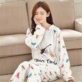 Bonito mulheres pijamas de Flanela inverno serviço de Casa camisola de mangas Compridas mais grossa quente padrão libélula