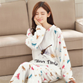 Pretty women pajamas Flannel winter nightdress Long sleeves thicker Home service warm dragonfly pattern