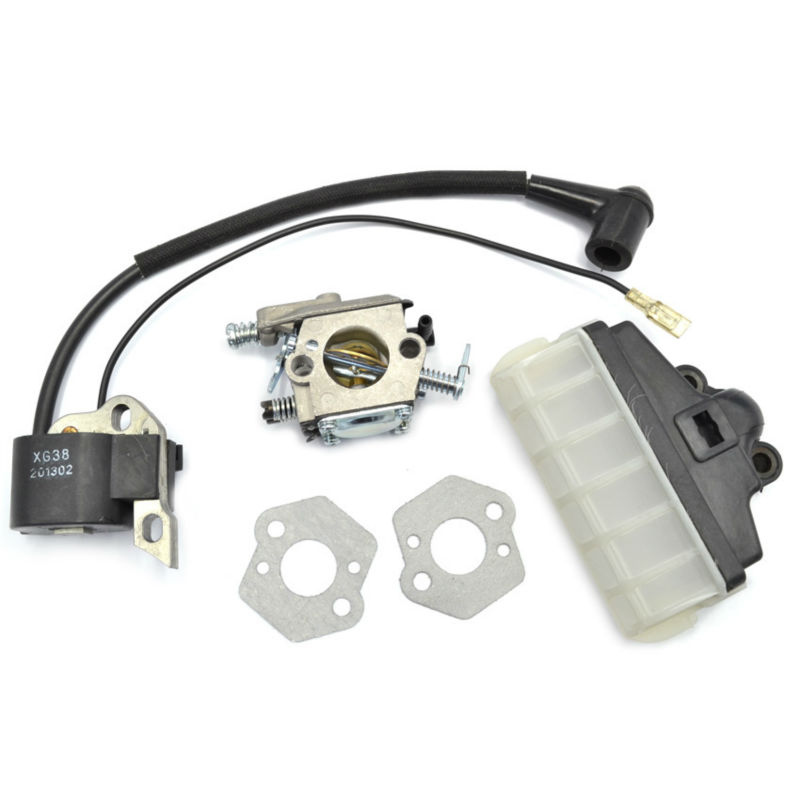 Ignition Coil Walbro Carburetor Carbs Gasket Air FIlter Kit fit Stihl Chainsaw 021 023 025 MS210 MS230 MS250 Repalces chainsaw carburetor ignition coil with carbs gasket fuel filter spark plug replacement parts for husqvarna 50 51 55 chain saws