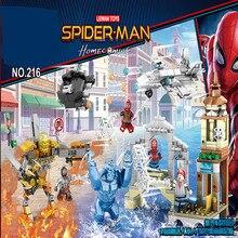 New 4pcs 4in1 Marvel legoinglys Avengers Super Heroes Series Spiderman Molten Man Battle Building Blocks Bricks Toys kids gift