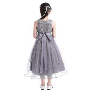Image 4 - iiniim 2 14 Years Toddle Costume Tutu Baby Girls Flower Mesh Lace Dress Birthday Party Princess Dress Kids Communion Dresses