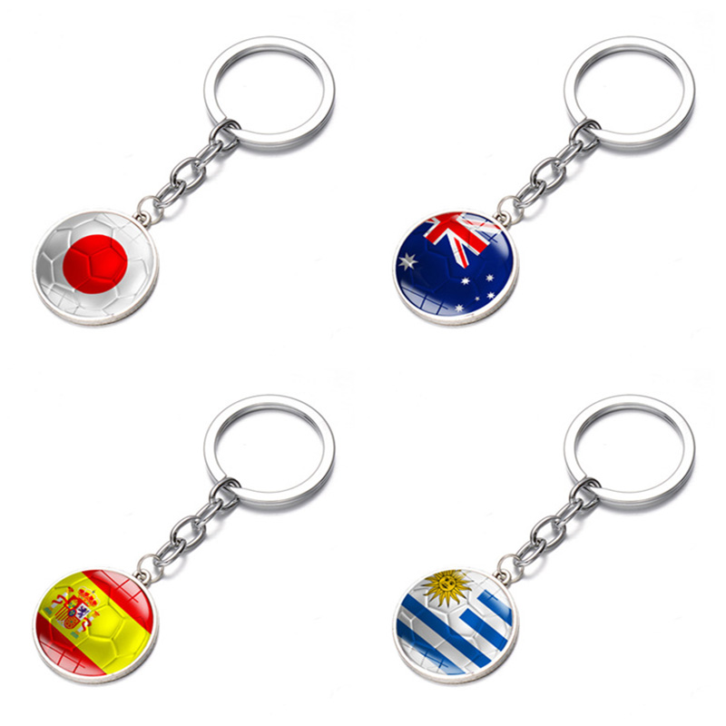 Spain Australia Japan Uruguay Flag Alloy Time Jewel Pendant Keychain 2018 Football Match Top 32 National Keychains Accessories