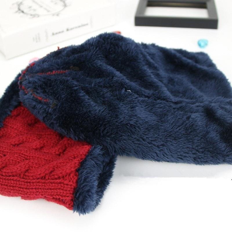 Neue Häkeln Herbst Winter Plus Samt Hut Schal Set Baby Jungen
