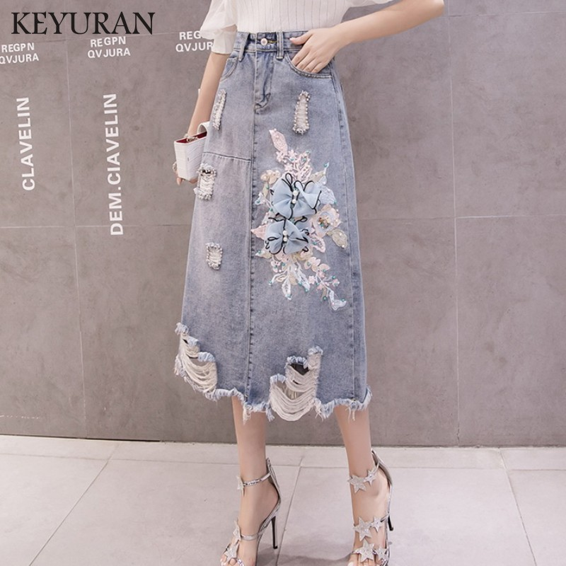 New Summer Fall Women High Waisted Beading Appliques Tassel Denim Skirt Female Woman A-line Embroidery Ripped Hole Jeans Skirts