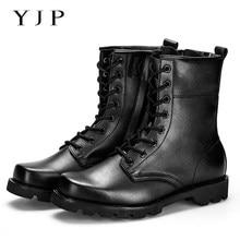 YJP на Шнуровке и Молнии Военные Ботинки, мода Черный Тактические Ботинки, рыцарь Середины икры Армейские Военные Ботинки, мотоцикл Botas Masculina