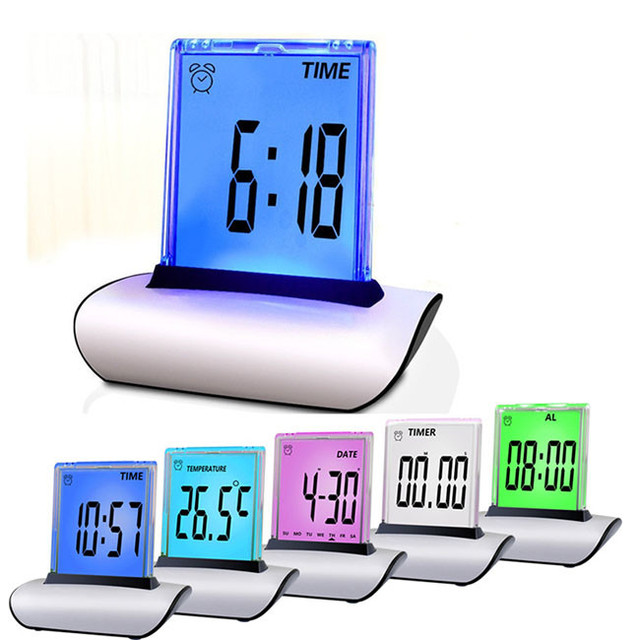 Multi-Functional Table Alarm Clocks LCD Screen Push 7 Colors Changing Desk Clock With Thermometer Calendar