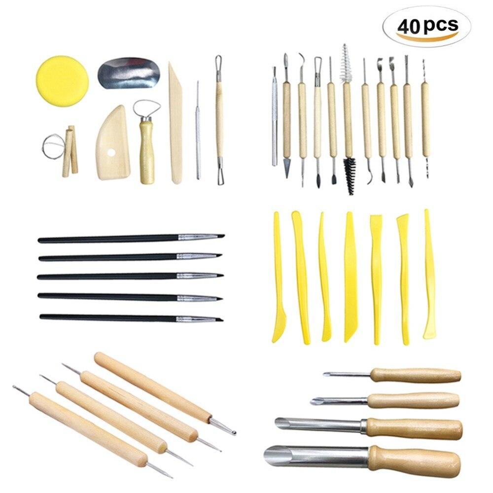 40pcs Professional Clay Pottery Sculpting Tools set Wax Ceramics Fimo DIY Craft Modeling Carving Tool kits