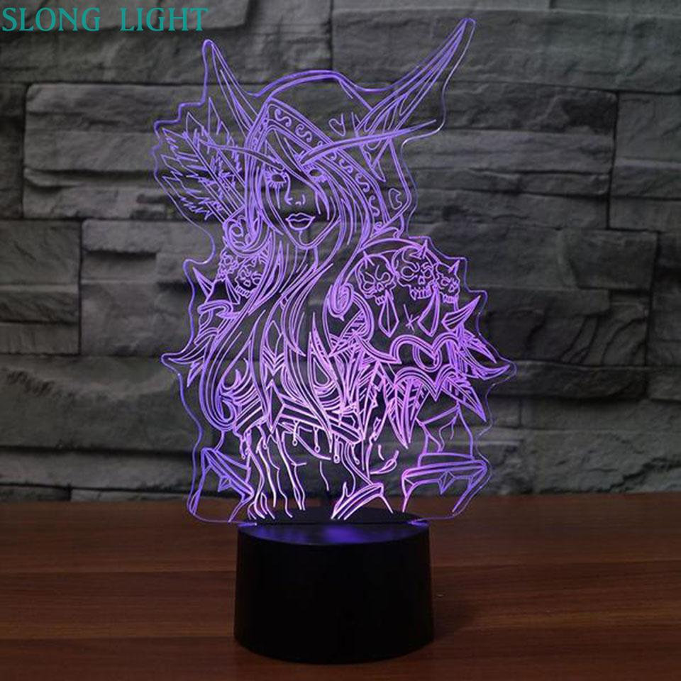 3d Lamp World Of Warcraft Childrens Night Light Led Bedroom Decor Holiday Gift Wow Sylvanas Windrunner Kids Night Lamp USB-in LED Night Lights from Lights & Lighting