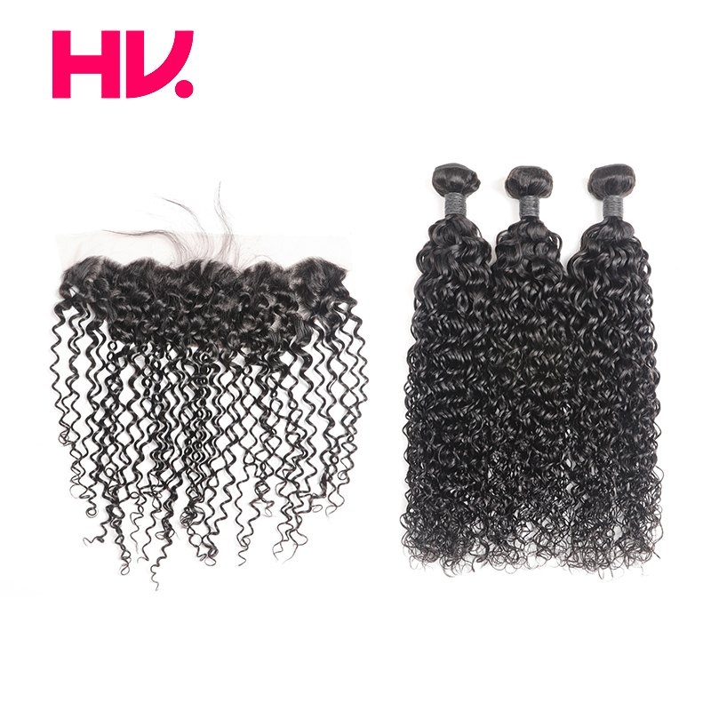 Brazilian water wave bundles with frontal Remy natural human hair 3 bundles with frontal