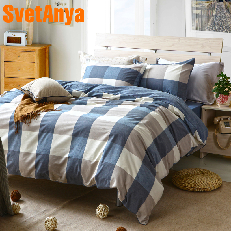 Svetanya Cotton Bedding Sets Japanese Plaid Style Bedlinen (Pillowcase +flat or fitted Bedsheet +Duvet Cover )Svetanya Cotton Bedding Sets Japanese Plaid Style Bedlinen (Pillowcase +flat or fitted Bedsheet +Duvet Cover )