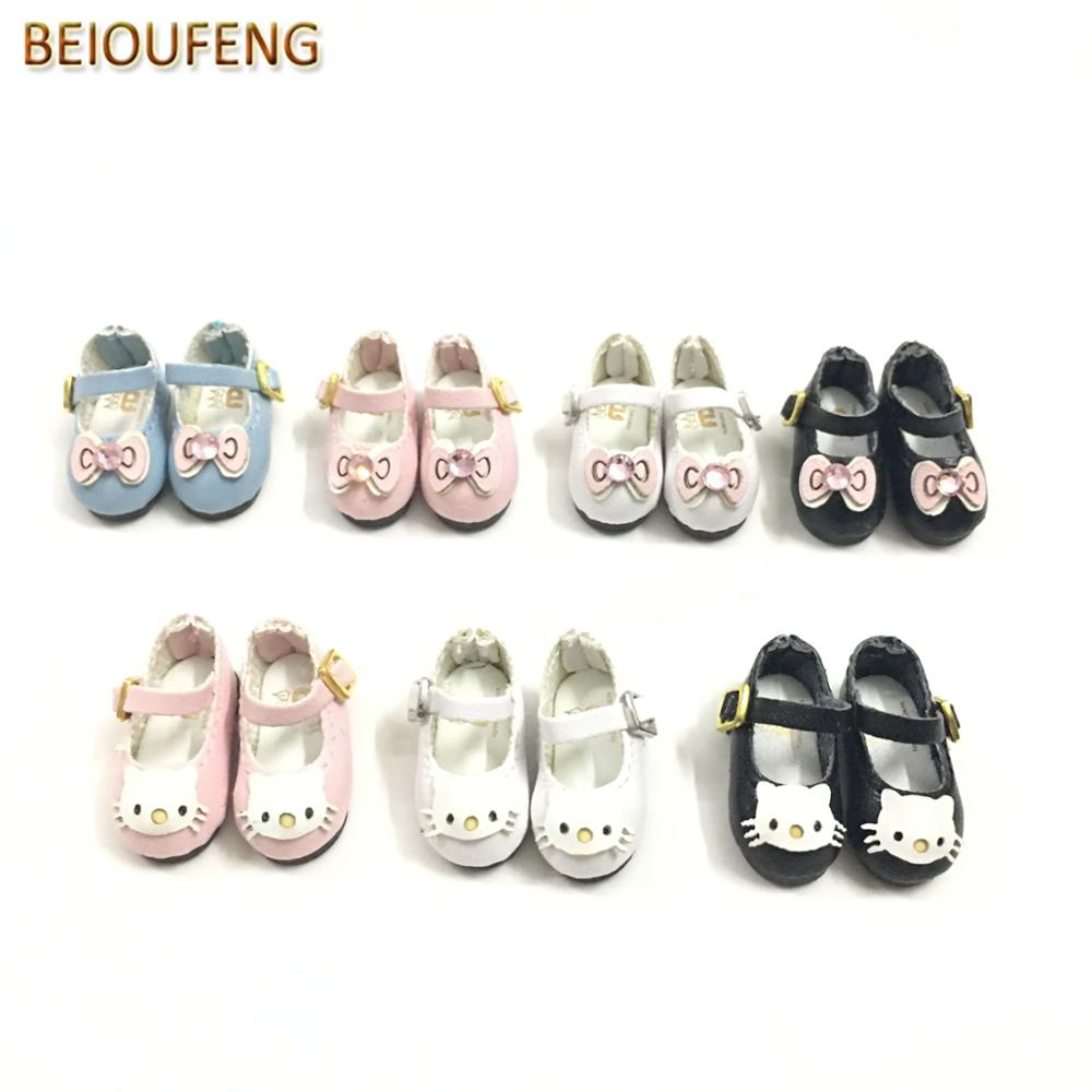 BEIOUFENG Fashion Doll Accessories Shoes for Blythe Doll Toy,1/6 BJD Doll Shoes with Bow-Knot Kitty Toy Boots for Dolls 6 Pair 5cm pu leather doll princess shoes for bjd dolls lace canvas mini toy shoes1 6 bjd snickers for russian doll accessories