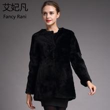 Натуральный мех, овчина, пальто, длинный рукав, для женщин, зимнее, теплое, Натуральная шерсть, пальто для женщин, овчина, стриженая куртка, черная, модная, тонкая верхняя одежда