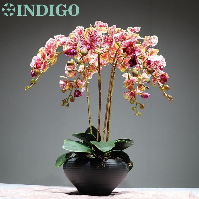 INDIGO Flower Orchid Arrangment 6pcs orchid 3pcs leaf Real Touch Flower Office Reception Dask Decoration Free Shipping in Artificial Dried Flowers from Home Garden