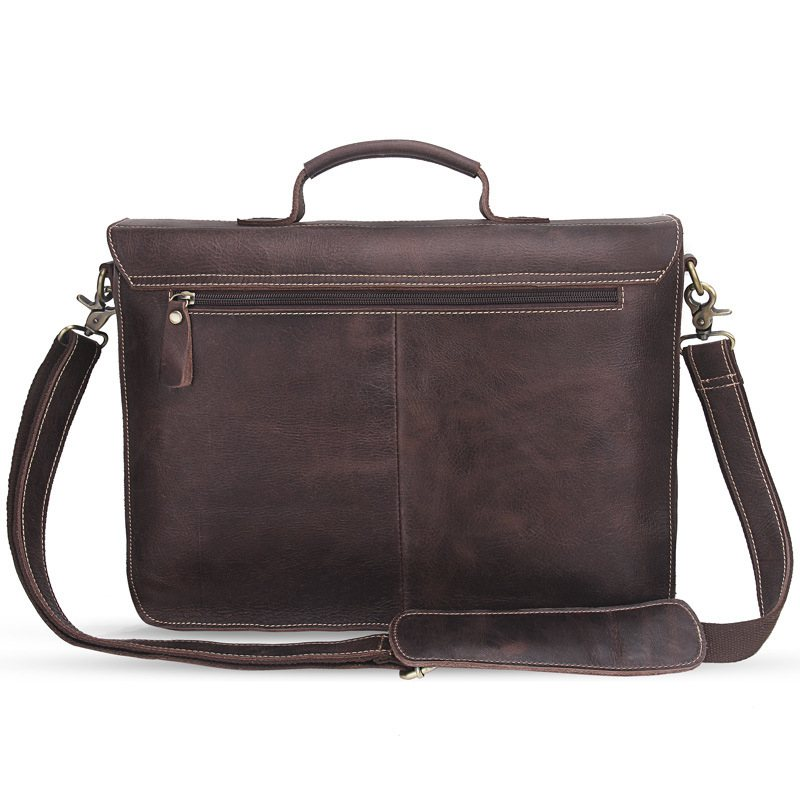2017 New Crossbody Bags Men Genuine Leather Vintage Buckle cover Designer 14 inches Large Messenger Bags For Men 2017 new arrivals vintage dark coffee men messenger bags 100% genuine leather guaranteed hot fashion designer men crossbody bags