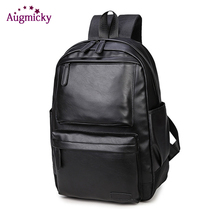 2019 Men Pu Leather Backpack Travel Rucksack School Casual Bag Male Laptop Business Laptop bagpacks Women mochila Shoulder Bags цена и фото