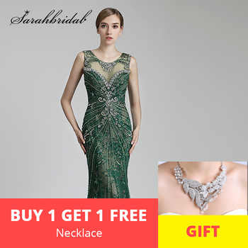 Luxury Long Evening Dresses Sexy Sheer Back Mermaid O Neck Beaded Crystals Women Formal Celebrity Gowns Real Photos CC429 - DISCOUNT ITEM  30% OFF All Category