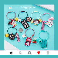 Cute Korean Cartoon Bell keychain Sailor Moon Black Cat Luna Figure Keyrings for Women Girl Bag Backpack Wallet Phone Charms(China)