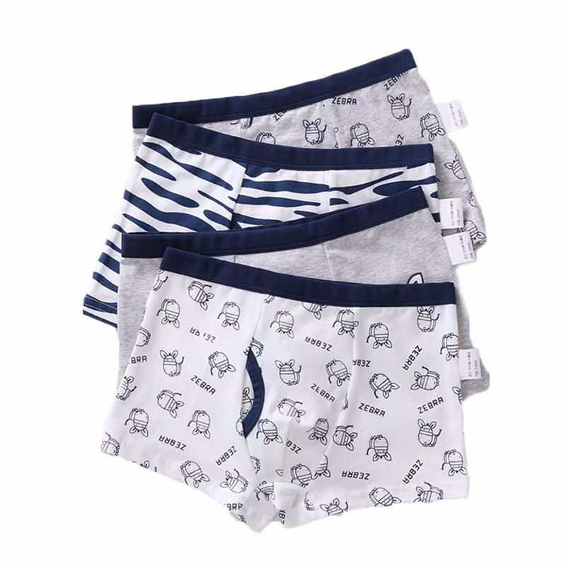 4Pc/lot Cotton Children Underwear Boys Boxer Shorts Teenage Underpants Kids Cartoon Panties Soft Baby Boys Boxer Briefs