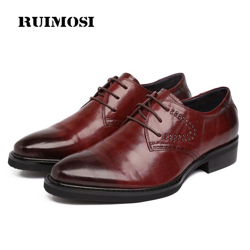 RUIMOSI Formal Man Studded Wedding Bridal Shoes Genuine Leather Designer Dress Oxfords Luxury Brand Men's Platform Footwear AD77