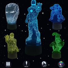 Hero LED 3D Night Lights Stars Wars Creative Desk Lamp Table Touch Usb Charget Home Lighting Bulbing 7 Color Change Luminaria 1piece 7 colors change lamp police box 3d lamp acrylic led usb table lamp tardis lights multi colored bulbing light