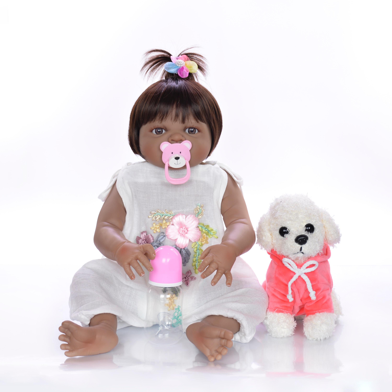 ตุ๊กตาเด็กทารกสมจริง 23 ''สาวสีดำผิว Reborn ตุ๊กตาทารกของเล่นซิลิโคนร่างกายเต็มรูปแบบ Handmade ชาติพันธุ์ตุ๊กตาเด็ก xmas ของขวัญ-ใน ตุ๊กตา จาก ของเล่นและงานอดิเรก บน   2