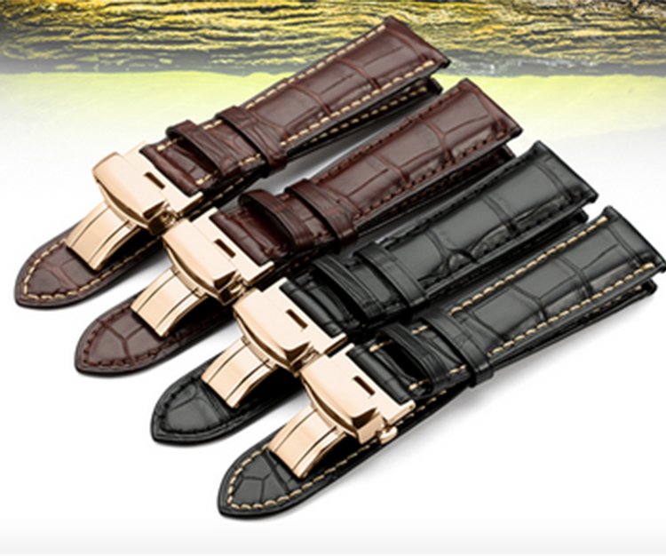 18mm 19mm 20mm 21mm 22mm New High Quality Alligator Crocodile Leather Watch Bands strap bracelet Black