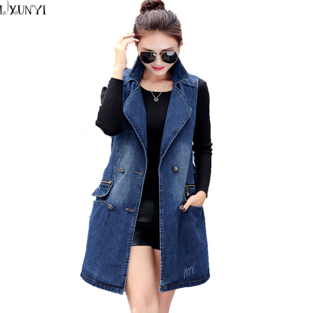 2017 Korean Denim Long Vest Spring Autumn Plus Size Women Fashion Double-Breasted Women Outerwear Sleeveless Waistcoat M-3XL