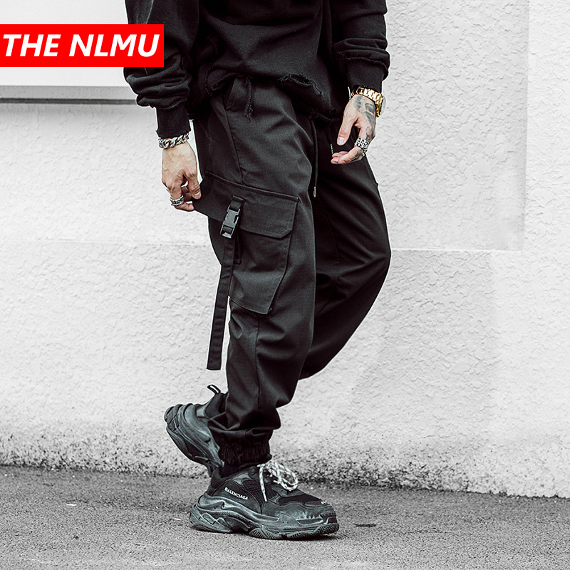 Mens Multi-pocket Harem Cargo Pant Men Streetwear Punk Cargo Pant Hip Hop Casual Trousers Joggers Male Black Pant WG02