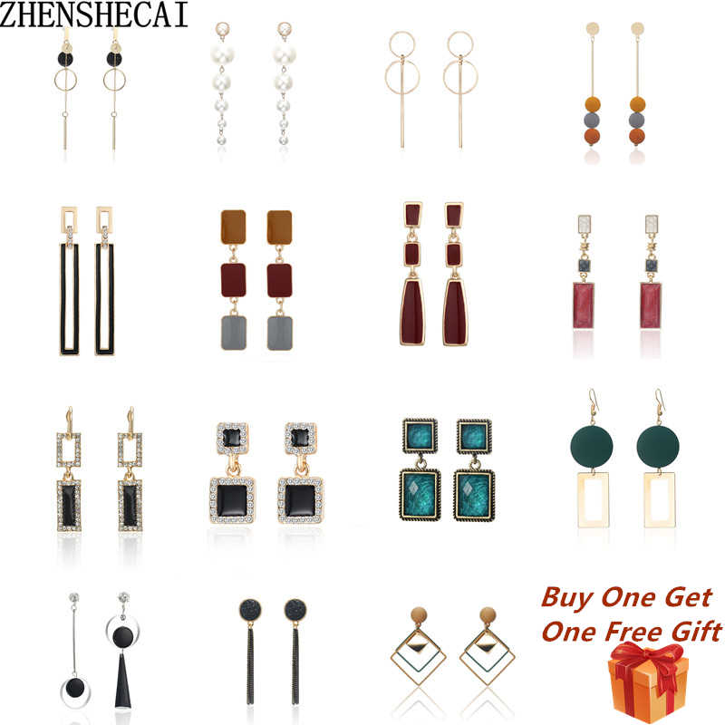New 20 style Simple Retro geometric Metal Round earrings Square tassel long earrings for women girl jewelry Accessories