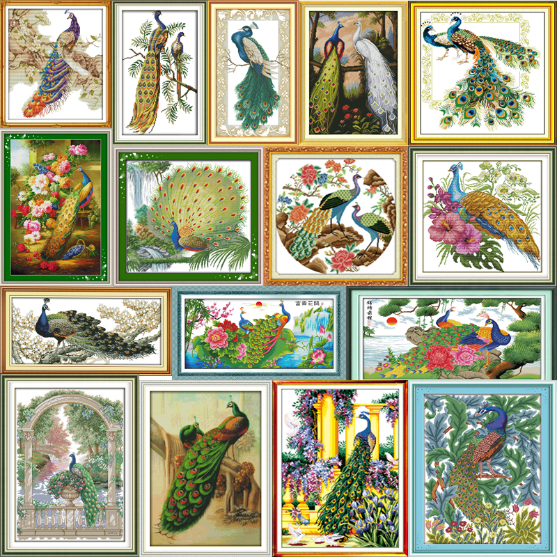 Joy Sunday Peacock Series DMC Counted Cross Stitch DIY Handwork 14CT 11CT For Embroidery Home Decor NKF Cross-stitching