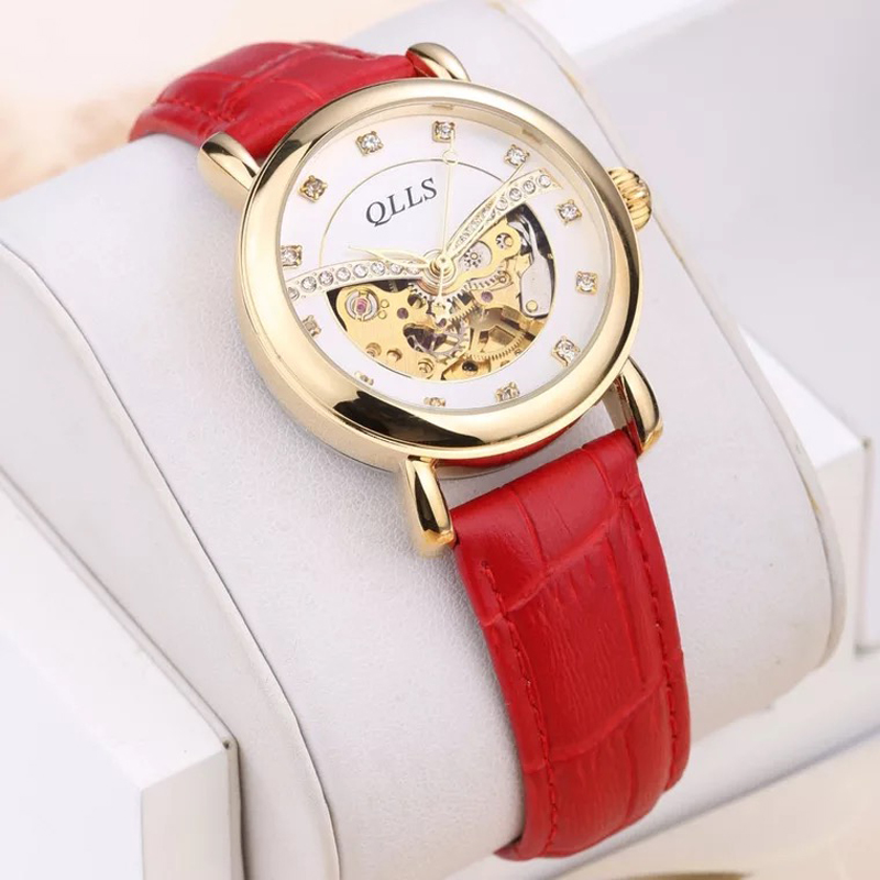 Ladies Automatic Watch Women Skeleton Mechanical Female Automatic Waterproof Leather Wrist Watches Womens Watch Gifts for Woman