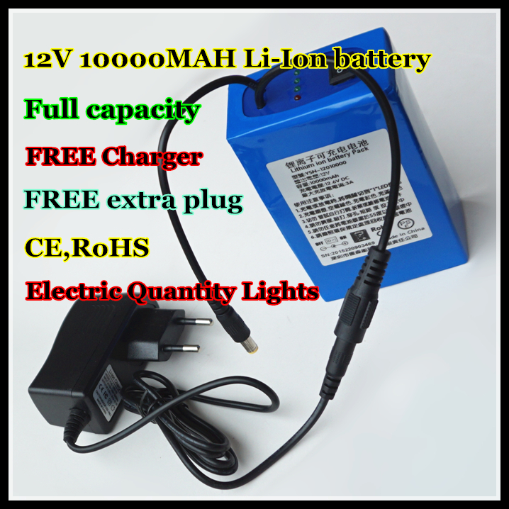 <font><b>12V</b></font> 10000MAH LiPo Rechargeable Power Source <font><b>3AH</b></font> Lithium ion <font><b>Batteries</b></font> with Free Charger and Extra plug image